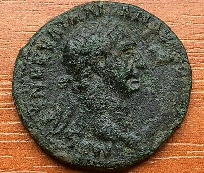 """Bronze Coin of Trajan 97-117 AD AE As """"Victory"""" Rome mint Ancient Roman Coin"""