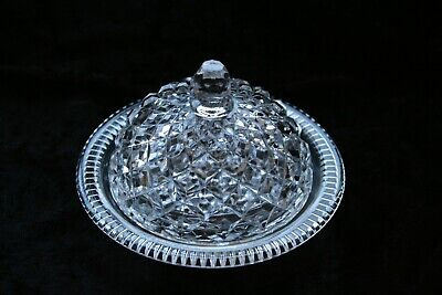 Vintage Pressed Glass - Round Butter Dish with Dome