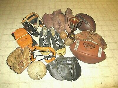 Large Group Of 1930's-1960's VINTAGE Sports Equipment Memorabilia