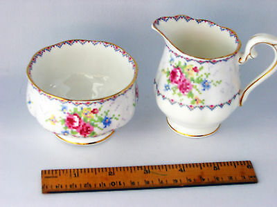 Vintage 1933 Petit Point Royal Albert Cream and Sugar never used