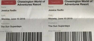 2 X Tickets for Chessington World of Adventure - Monday June 10th