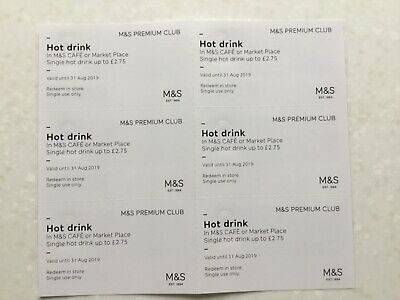 Marks & Spencer 6 hot drink vouchers valid until August 31st 2019