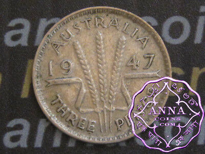 Australia 1947 George VI Threepence X1, Average Circulated Condition