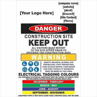 Construction Site Signs -  CONSTRUCTION SITE COMBINATION SIGN - Test and Tag