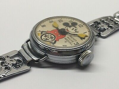 Vintage 1933 Sears Wire Lug Mickey Mouse Wrist Watch Ingersoll 30s Disney Works