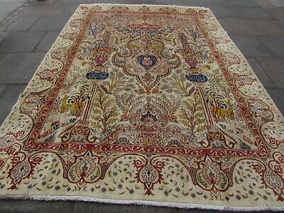 Old Hand Made Traditional Persian Rug Oriental Wool Cream Large Carpet 338x236cm