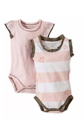 BURT'S BEES Baby Girl Organic Rugby Bodysuit Pink Stripe 24 Months 2 Pack