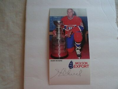 Henri Richard –all stats auto card– Molson Export oversize – Montreal Canadiens