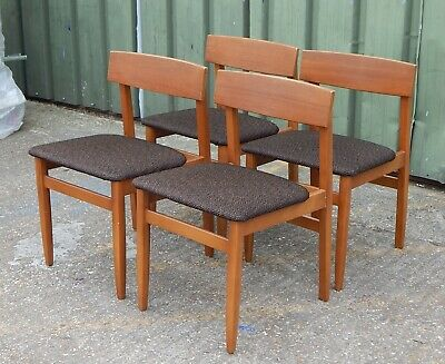 4x mid century teak dining chairs with fresh fabric retro vintage G Plan era