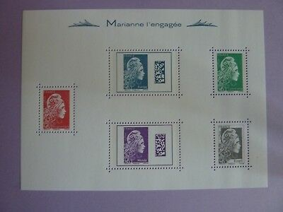 2018 Marianne L'engagee Neuf Bloc De 5 Timbres
