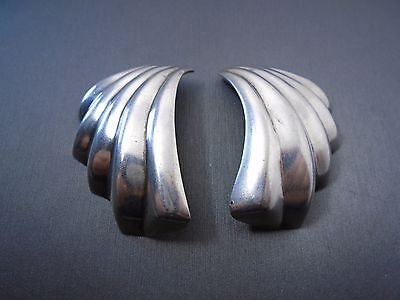 Vintage Sterling Silver Large Shell Shape Earring #Ac559