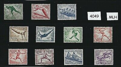 Stamp complete 1936 set /  Winter & Summer Olympics  Nazi Germany  Third Reich