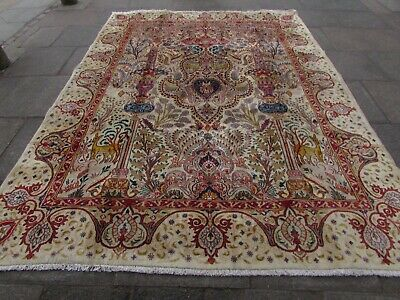 Old Hand Made Traditional Persian Rug Oriental Wool Cream Large Carpet 336x240cm