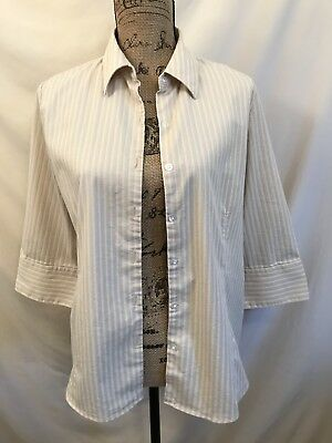 02137935aae0 Womans Button Blouse Size Large 12/14 George Beige White Striped Top Shirt