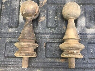 1-Pair Large Antique Solid Wood Newel Post Finials Salvage Architectural