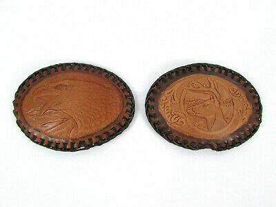 Lot of 2 Vtg Laced Wrapped Tooled Leather Oval Eagle Head Deer Buck Belt Buckles