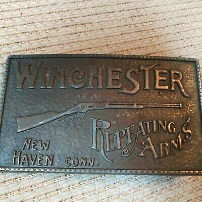 Vintage Winchester Repeating Arms Belt Buckle Solid Brass