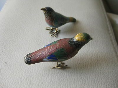 Two beautiful cloisonne enameled multicolored birds.