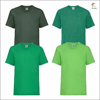 889eafc6c Plain Green Fruit of the Loom Cotton Childrens Kids Boys Girls T Shirt Tee  Sport
