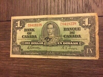 1937 $1 Dollar Bank Note Canada