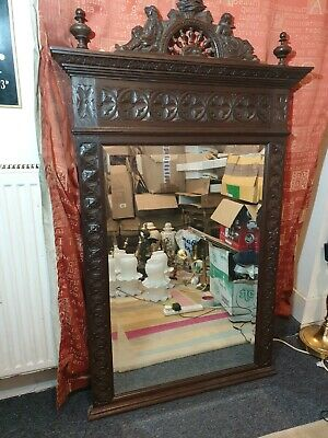 Big 19th Century Carved French Antique Breton Brittany Oak Hall Mantel Mirror