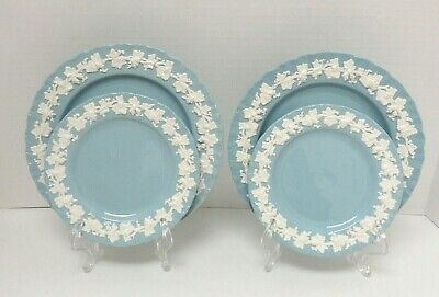 Wedgwood Queensware Lavender Blue Shell Edge Set  2 Salad, Bread / Butter Plates