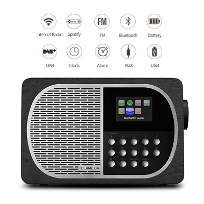 LEMEGA M2+ Portable Rechargeable Battery Wi-Fi Internet Radio With Spotify, DAB,
