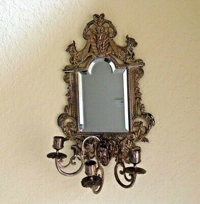 """VTG Victorian Rococo 5 LBS Solid Brass Ornate (18""""H x 11""""W) Mirror candle holder"""