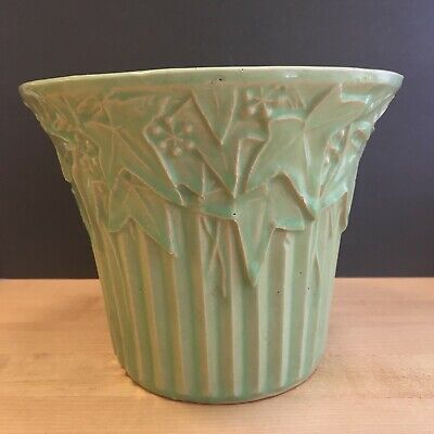 "Vintage McCoy Art Pottery Jardiniere Matte Green Ivy Leaves 1940's 6"" High"