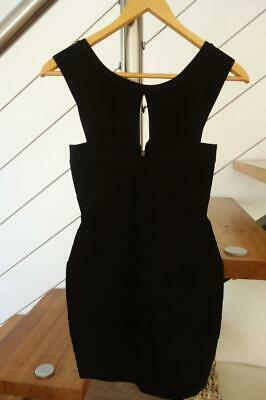 Stunning Black HERVE LEGER Style Quality Fabric Dress Small