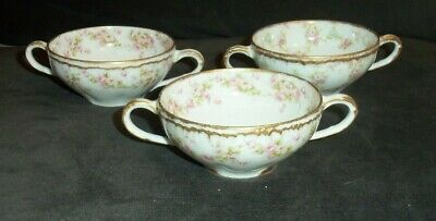 3 Pieces Of Haviland Limoges SCHLEIGER 844 Roses Gold Soup Bowls Double Handled