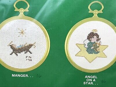 Vintage CAROLINA CROSS STITCH INC CHRISTMAS ORNAMENTS angel manger with frames