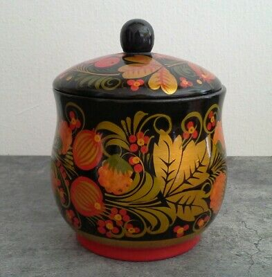 Russian Khokhloma hand painted Lacquered Jar With Lid Folk Art Floral Bowl