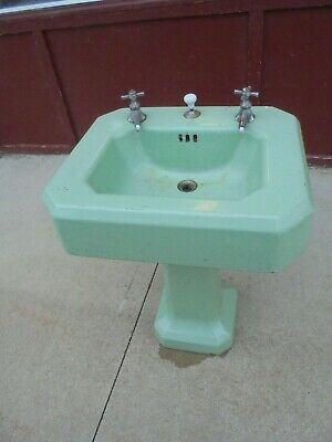 vintage cast iron pedestal bathroom sink seafoam green 24 X 20