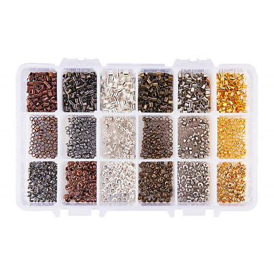PandaHall Elite About 380 pcs 3 Size 6 Mixed Colors Iron/Brass Crimp Beads For