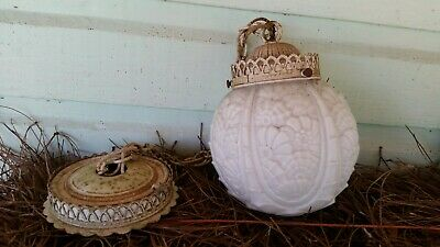 Antique Hanging Ceiling Light Beautiful Globe On Chain! 1 Of 2.
