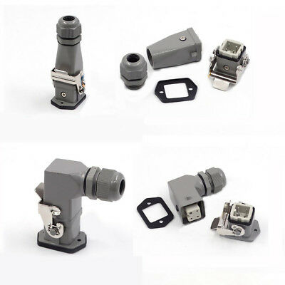 Heavy Duty Aviation Plug Male/Female Connector H3A-HA-003 3-Pin 3P Top/Side 10A