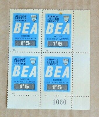 Block Of 4 BEA Airways Letter Service 1/5 Cinderella Stamps MUH