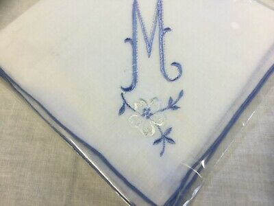 "Large Ladies Handkerchief with Embroidered ""M"""