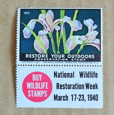 1940 National Wildlife Restoration Week Cinderella Poster Stamp M/UH
