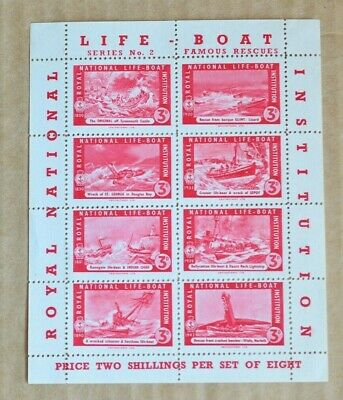 Block 8 1940s Royal National Life Boat Institution Cinderella Poster Stamps M/UH