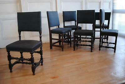 Harlequin Set 6 Antique Jacobean Revival Dining Chairs - Horsehair Upholstery
