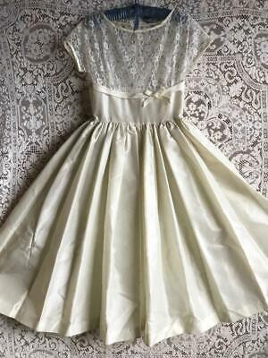 Vintage 1950s Ivory Full Skirt Midi Length Organza & Lace Party Wedding Dress