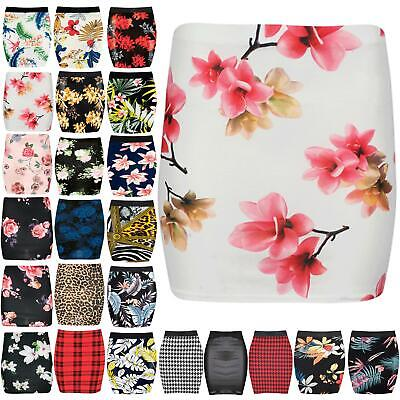 Womens Floral Rose Print Bodycon Bandage Ladies Pencil Skinny Fitted Mini Skirt