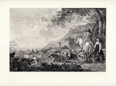 """1800s Aelbert CUYP Antique Etching """"Landscape with Cattle & Figures"""" Framed COA"""