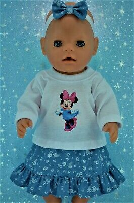 "Play n Wear Doll Clothes To Fit 17"" Baby Born PATTERN DENIM SKIRT~TOP~HEADBAND"