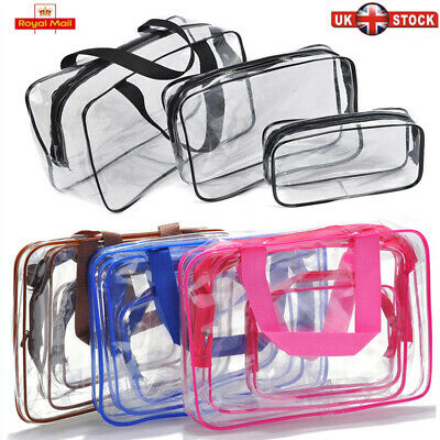 UK Travel Wash Bag Cosmetic Makeup Toiletry Bags Clear PVC Zip Make Up Organiser
