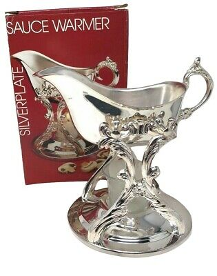 Vintage Silverplate Gravy Boat & Warmer Stand Tilting Sauce EXC COND!