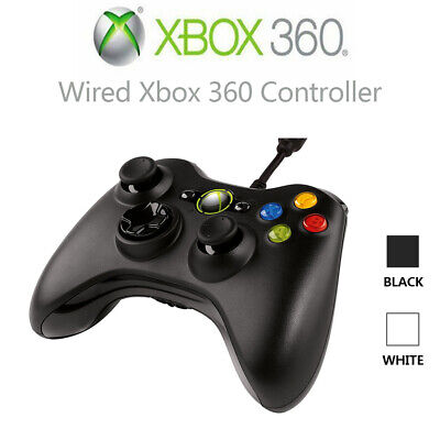 New Official Xbox 360 Wired Black Original Genuine Controller Game Pad L10