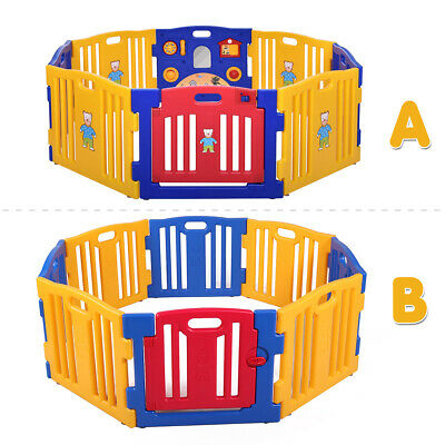 Baby Playpen Kids 8 Panel Safety Play Center Yard Home Indoor Outdoor Play Pen